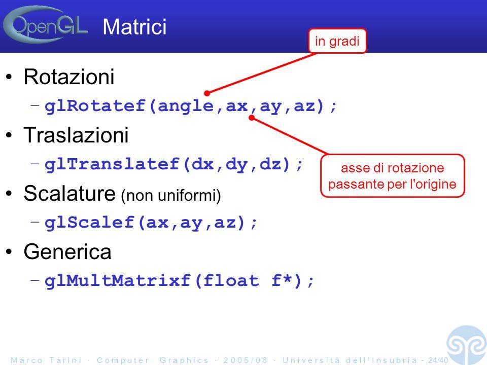 M a r c o T a r i n i C o m p u t e r G r a p h i c s 2 0 0 5 / 0 6 U n i v e r s i t à d e l l I n s u b r i a - 24/40 Matrici Rotazioni –glRotatef(angle,ax,ay,az); Traslazioni –glTranslatef(dx,dy,dz); Scalature (non uniformi) –glScalef(ax,ay,az); Generica –glMultMatrixf(float f*); in gradi asse di rotazione passante per l origine