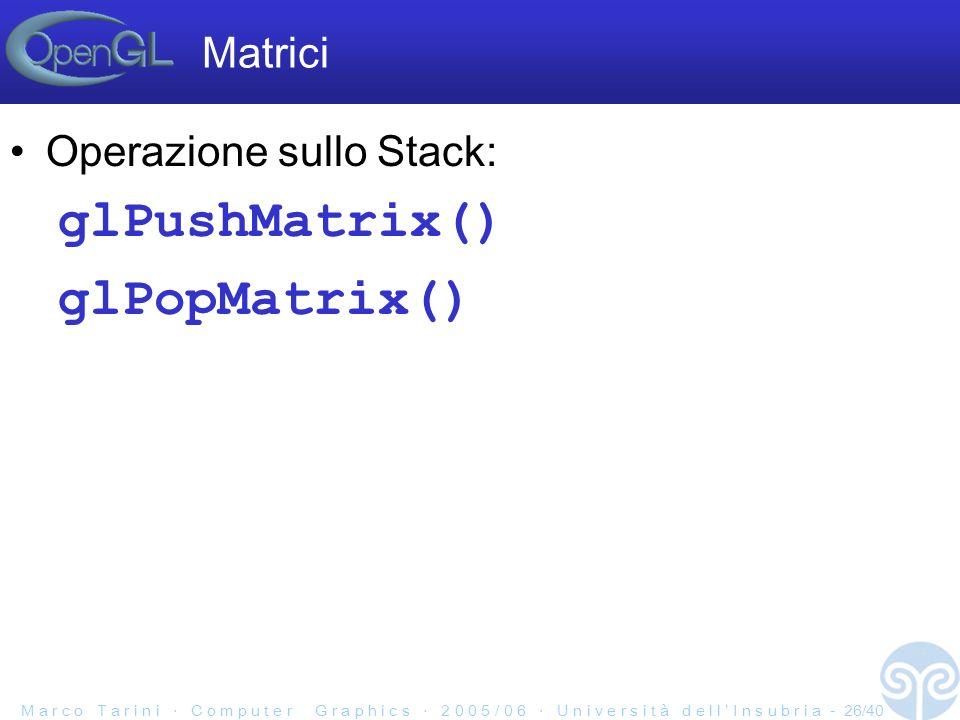 M a r c o T a r i n i C o m p u t e r G r a p h i c s 2 0 0 5 / 0 6 U n i v e r s i t à d e l l I n s u b r i a - 26/40 Operazione sullo Stack: glPushMatrix() glPopMatrix() Matrici