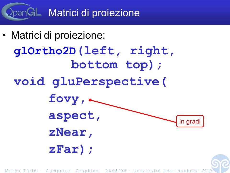 M a r c o T a r i n i C o m p u t e r G r a p h i c s 2 0 0 5 / 0 6 U n i v e r s i t à d e l l I n s u b r i a - 27/40 Matrici di proiezione: glOrtho2D (left, right, bottom top); void gluPerspective( fovy, aspect, zNear, zFar); Matrici di proiezione in gradi