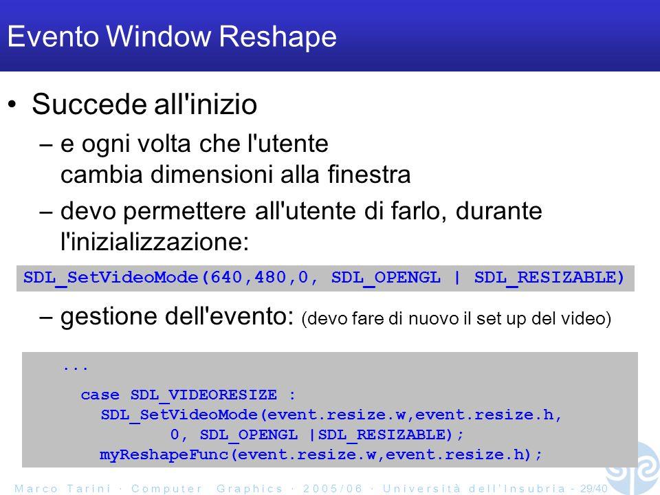 M a r c o T a r i n i C o m p u t e r G r a p h i c s 2 0 0 5 / 0 6 U n i v e r s i t à d e l l I n s u b r i a - 29/40 Evento Window Reshape Succede all inizio –e ogni volta che l utente cambia dimensioni alla finestra –devo permettere all utente di farlo, durante l inizializzazione: –gestione dell evento: (devo fare di nuovo il set up del video) SDL_SetVideoMode(640,480,0, SDL_OPENGL | SDL_RESIZABLE)...