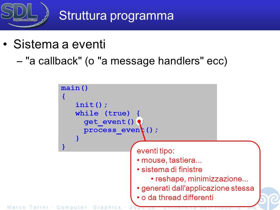 M a r c o T a r i n i C o m p u t e r G r a p h i c s 2 0 0 5 / 0 6 U n i v e r s i t à d e l l I n s u b r i a - 5/40 Struttura programma Sistema a eventi – a callback (o a message handlers ecc) main() { init(); while (true) { get_event() ; process_event(); } eventi tipo: mouse, tastiera...