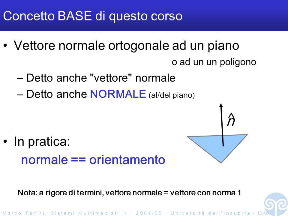 M a r c o T a r i n i S i s t e m i M u l t i m e d i a l i I I 2 0 0 4 / 0 5 U n i v e r s i t à d e l l I n s u b r i a - 12/40 Concetto BASE di questo corso Vettore normale ortogonale ad un piano o ad un un poligono –Detto anche vettore normale –Detto anche NORMALE (al/del piano) In pratica: normale == orientamento Nota: a rigore di termini, vettore normale = vettore con norma 1 n ^