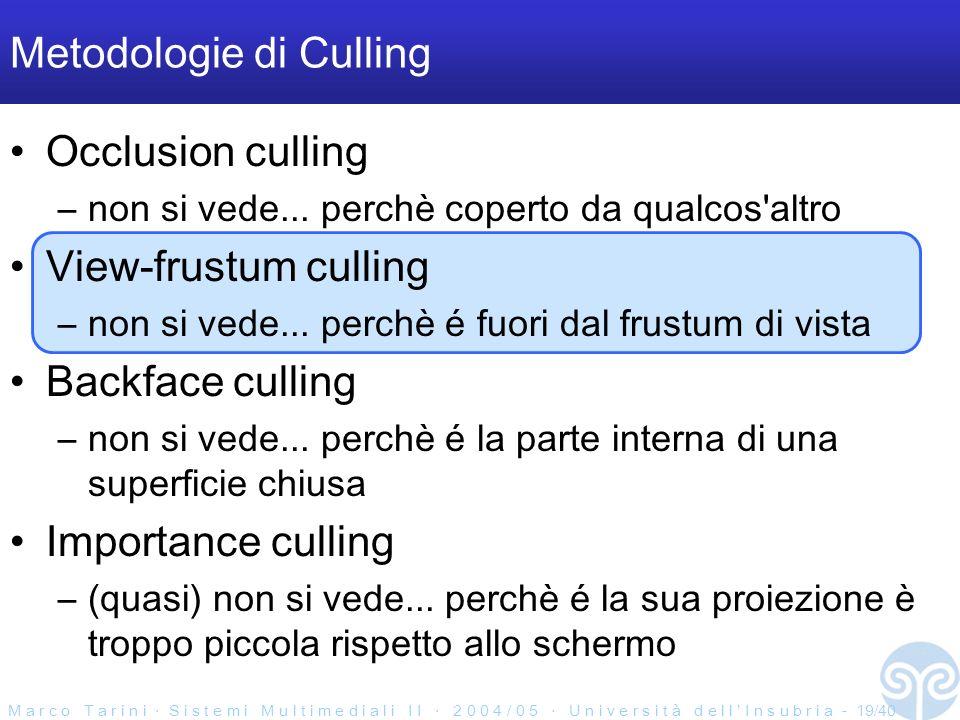 M a r c o T a r i n i S i s t e m i M u l t i m e d i a l i I I 2 0 0 4 / 0 5 U n i v e r s i t à d e l l I n s u b r i a - 19/40 Metodologie di Culling Occlusion culling –non si vede...