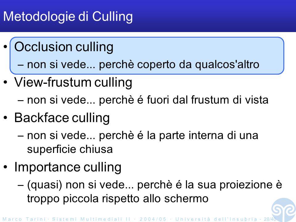M a r c o T a r i n i S i s t e m i M u l t i m e d i a l i I I 2 0 0 4 / 0 5 U n i v e r s i t à d e l l I n s u b r i a - 28/40 Metodologie di Culling Occlusion culling –non si vede...