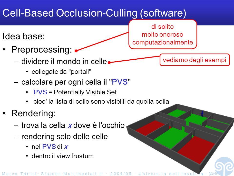 M a r c o T a r i n i S i s t e m i M u l t i m e d i a l i I I 2 0 0 4 / 0 5 U n i v e r s i t à d e l l I n s u b r i a - 30/40 Cell-Based Occlusion-Culling (software) Idea base: Preprocessing: –dividere il mondo in celle collegate da portali –calcolare per ogni cella il PVS PVS = Potentially Visible Set cioe la lista di celle sono visiblili da quella cella Rendering: –trova la cella x dove è l occhio –rendering solo delle celle nel PVS di x dentro il view frustum di solito molto oneroso computazionalmente vediamo degli esempi