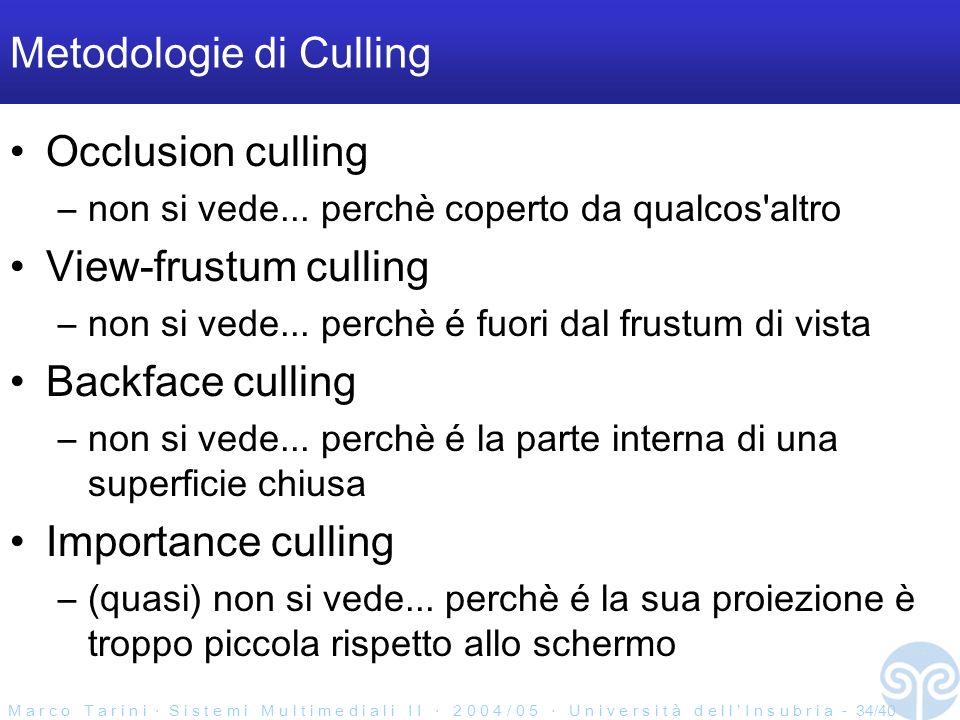 M a r c o T a r i n i S i s t e m i M u l t i m e d i a l i I I 2 0 0 4 / 0 5 U n i v e r s i t à d e l l I n s u b r i a - 34/40 Metodologie di Culling Occlusion culling –non si vede...
