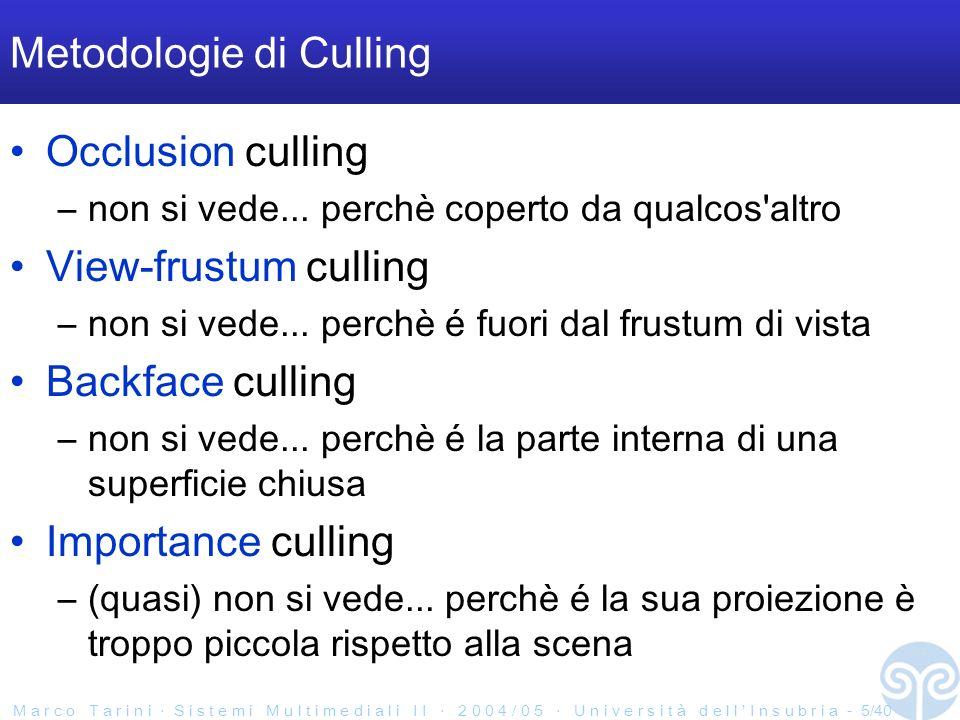 M a r c o T a r i n i S i s t e m i M u l t i m e d i a l i I I 2 0 0 4 / 0 5 U n i v e r s i t à d e l l I n s u b r i a - 5/40 Metodologie di Culling Occlusion culling –non si vede...