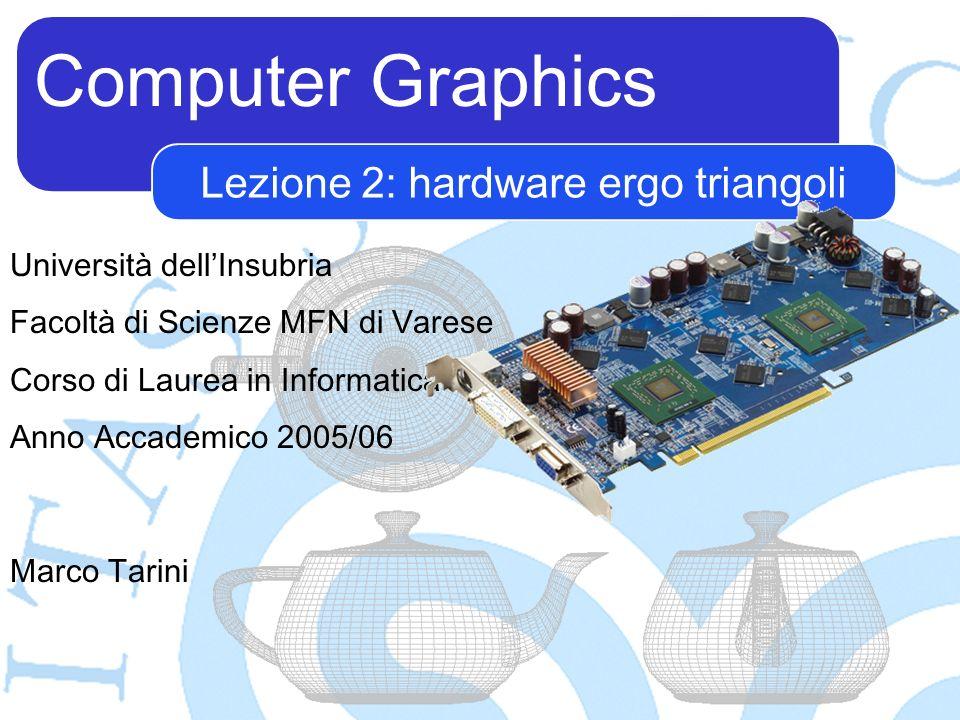 Computer Graphics Marco Tarini Università dellInsubria Facoltà di Scienze MFN di Varese Corso di Laurea in Informatica Anno Accademico 2005/06 Lezione 2: hardware ergo triangoli