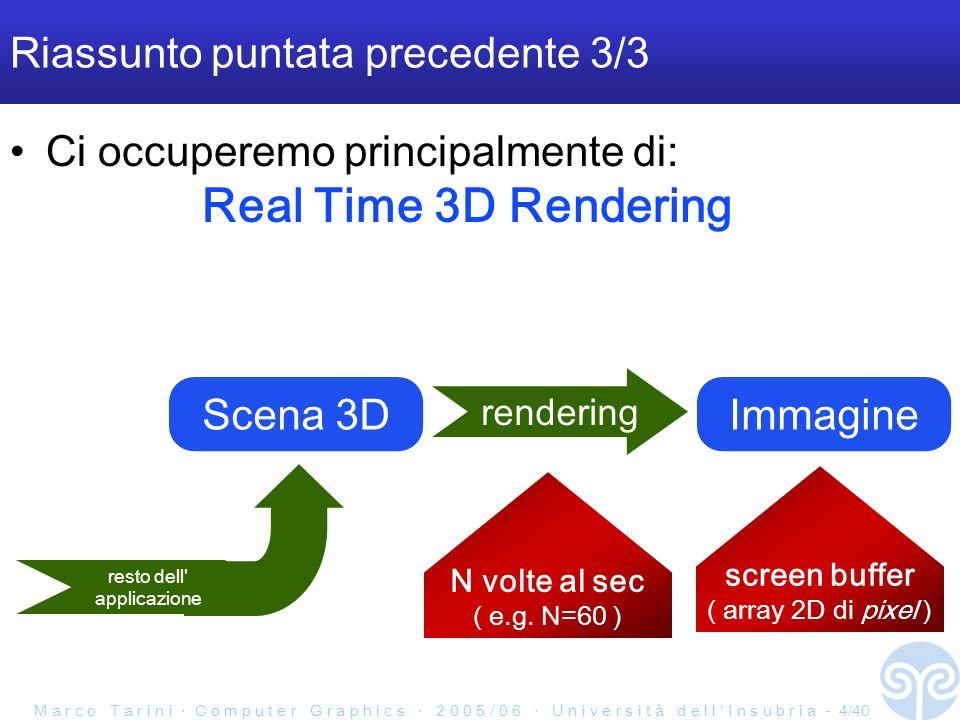 M a r c o T a r i n i C o m p u t e r G r a p h i c s 2 0 0 5 / 0 6 U n i v e r s i t à d e l l I n s u b r i a - 4/40 Riassunto puntata precedente 3/3 Ci occuperemo principalmente di: Real Time 3D Rendering Scena 3D rendering Immagine screen buffer ( array 2D di pixel ) N volte al sec ( e.g.