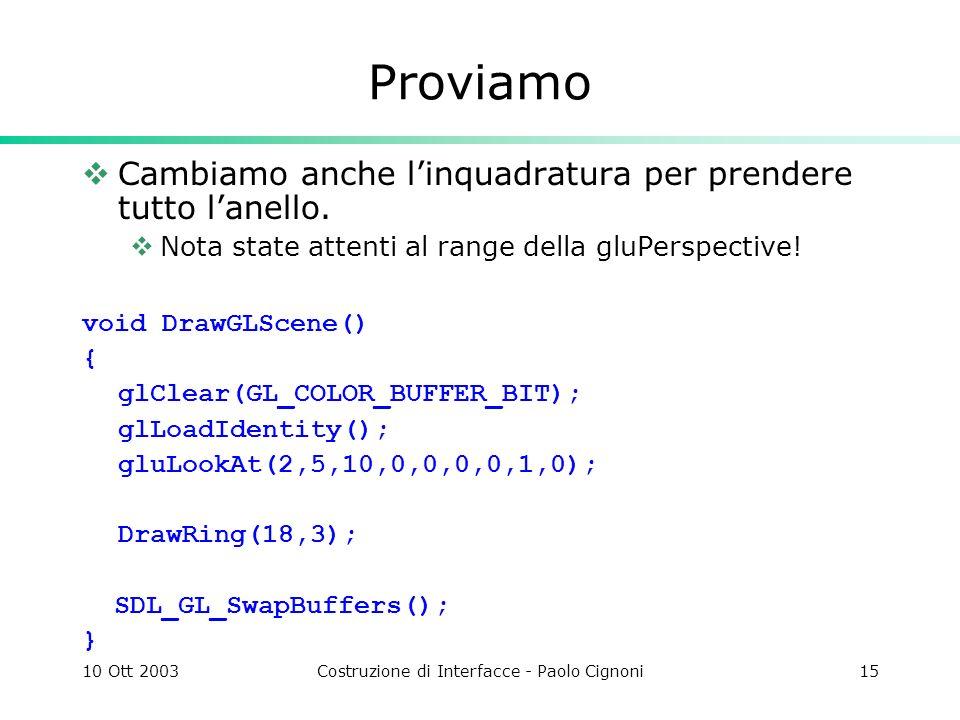10 Ott 2003Costruzione di Interfacce - Paolo Cignoni15 Proviamo Cambiamo anche linquadratura per prendere tutto lanello.