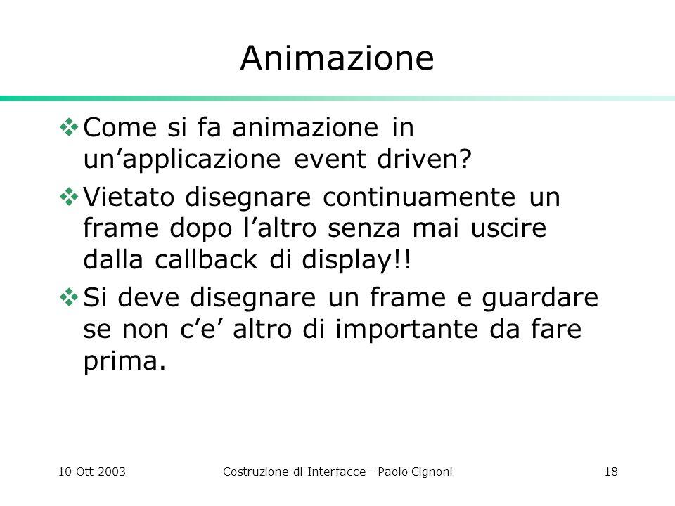10 Ott 2003Costruzione di Interfacce - Paolo Cignoni18 Animazione Come si fa animazione in unapplicazione event driven.