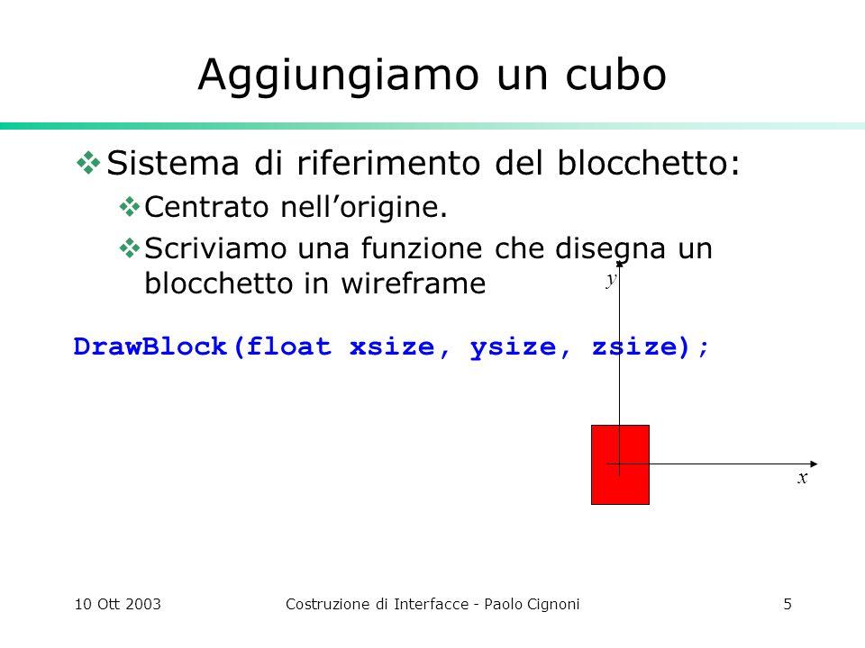 10 Ott 2003Costruzione di Interfacce - Paolo Cignoni6 DrawBlock Disegno i 12 edge di un box3d void DrawBlock(float xsz, float ysz, float zsz) { glBegin(GL_LINES); glVertex3f(-xsz, ysz, zsz); glVertex3f( xsz, ysz, zsz); glVertex3f(-xsz,-ysz, zsz); glVertex3f( xsz,-ysz, zsz); glVertex3f( xsz, ysz, zsz); glVertex3f( xsz,-ysz, zsz); glVertex3f(-xsz, ysz, zsz); glVertex3f(-xsz,-ysz, zsz); glVertex3f( xsz, ysz, zsz); glVertex3f( xsz, ysz,-zsz); glVertex3f(-xsz, ysz, zsz); glVertex3f(-xsz, ysz,-zsz); glVertex3f( xsz,-ysz, zsz); glVertex3f( xsz,-ysz,-zsz); glVertex3f(-xsz,-ysz, zsz); glVertex3f(-xsz,-ysz,-zsz); glVertex3f(-xsz, ysz,-zsz); glVertex3f( xsz, ysz,-zsz); glVertex3f(-xsz,-ysz,-zsz); glVertex3f( xsz,-ysz,-zsz); glVertex3f( xsz, ysz,-zsz); glVertex3f( xsz,-ysz,-zsz); glVertex3f(-xsz, ysz,-zsz); glVertex3f(-xsz,-ysz,-zsz); glEnd(); }