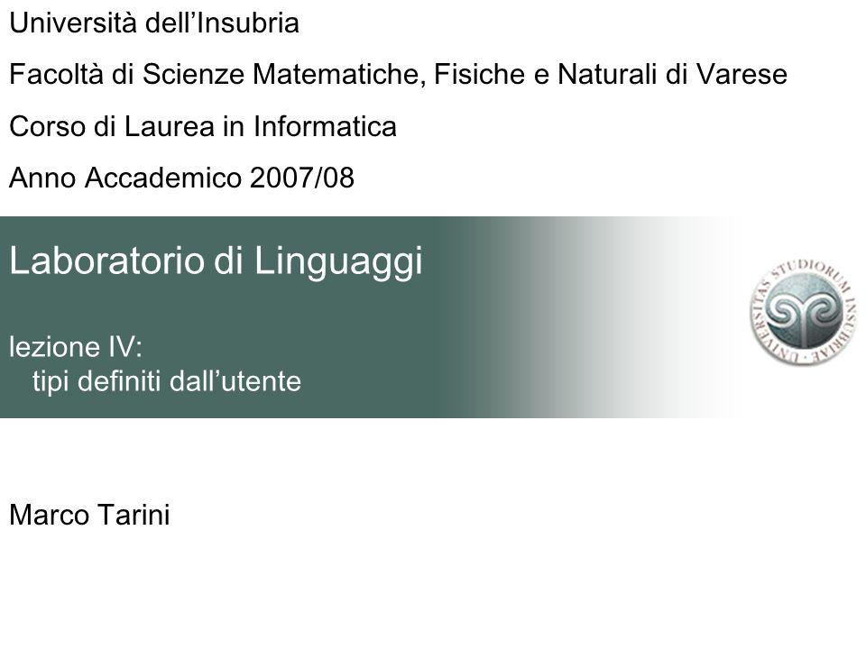 Laboratorio di Linguaggi lezione IV: tipi definiti dallutente Marco Tarini Università dellInsubria Facoltà di Scienze Matematiche, Fisiche e Naturali