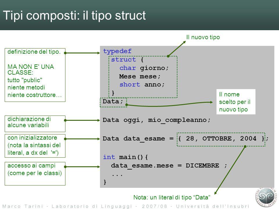 M a r c o T a r i n i - L a b o r a t o r i o d i L i n g u a g g i - 2 0 0 7 / 0 8 - U n i v e r s i t à d e l l I n s u b r i a Il tipo struct: in memoria typedef struct { char giorno; Mese mese; short anno; } Data; codifica di giornocodifica di mesecodifica di anno in memoria, una struct e codificata come la semplice concatenzaione delle codifiche dei suoi campi : codifica della Data offset del campo anno