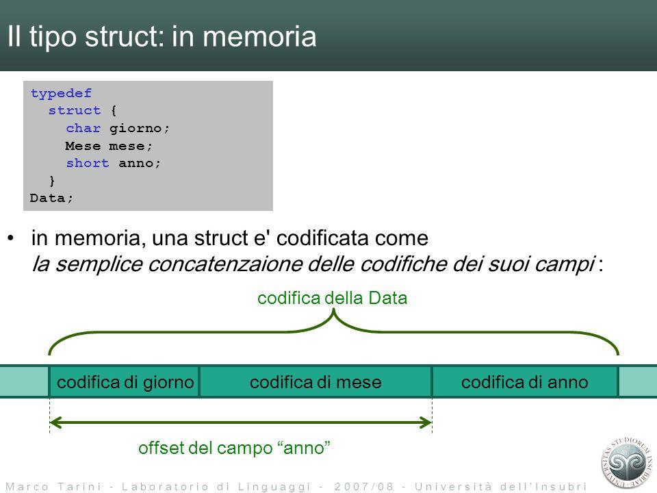 M a r c o T a r i n i - L a b o r a t o r i o d i L i n g u a g g i - 2 0 0 7 / 0 8 - U n i v e r s i t à d e l l I n s u b r i a Il tipo struct: in memoria typedef struct { char giorno; Mese mese; short anno; } Data; codifica di giornocodifica di mesecodifica di anno in memoria, una struct e codificata come la semplice concatenzaione delle codifiche dei suoi campi : codifica della Data a indirizzo di a.anno = (indirizzo base di a) + (offsett campo anno) a.anno