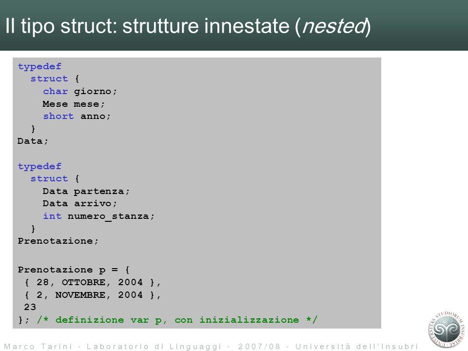 M a r c o T a r i n i - L a b o r a t o r i o d i L i n g u a g g i - 2 0 0 7 / 0 8 - U n i v e r s i t à d e l l I n s u b r i a Puntatori: preambolo Cosa succede normalmente… int pippo = 0xA0; R A M 0x00000000 0xFFFFFFFF il compilatore assegna alla variabile pippo una locazione di memoria.