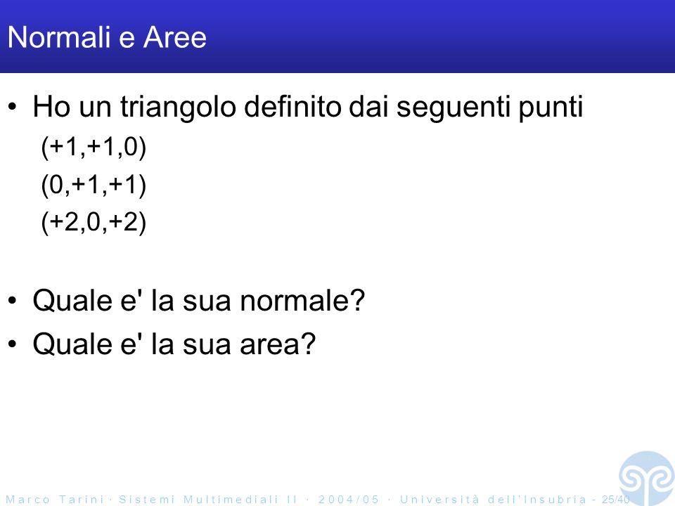 M a r c o T a r i n i S i s t e m i M u l t i m e d i a l i I I 2 0 0 4 / 0 5 U n i v e r s i t à d e l l I n s u b r i a - 25/40 Normali e Aree Ho un triangolo definito dai seguenti punti (+1,+1,0) (0,+1,+1) (+2,0,+2) Quale e la sua normale.
