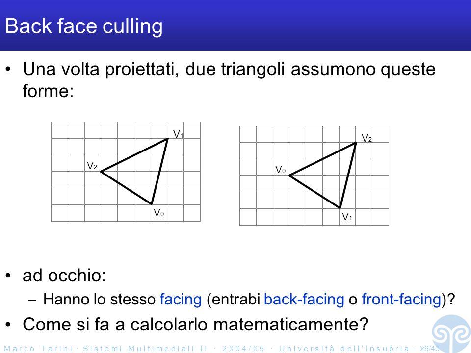 M a r c o T a r i n i S i s t e m i M u l t i m e d i a l i I I 2 0 0 4 / 0 5 U n i v e r s i t à d e l l I n s u b r i a - 29/40 Back face culling Una volta proiettati, due triangoli assumono queste forme: ad occhio: –Hanno lo stesso facing (entrabi back-facing o front-facing).