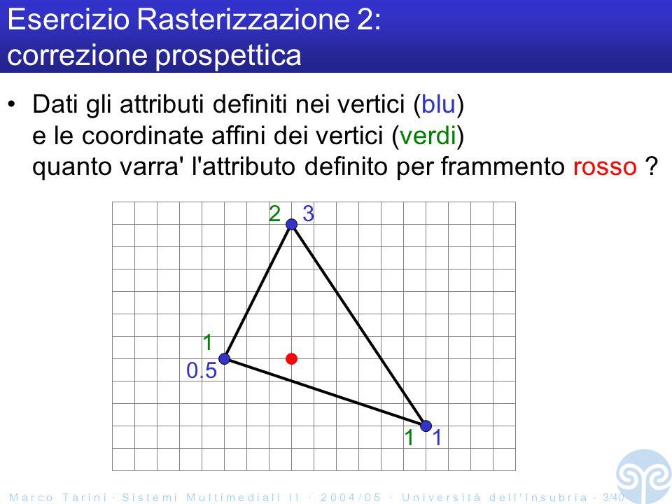 M a r c o T a r i n i S i s t e m i M u l t i m e d i a l i I I 2 0 0 4 / 0 5 U n i v e r s i t à d e l l I n s u b r i a - 3/40 Esercizio Rasterizzazione 2: correzione prospettica Dati gli attributi definiti nei vertici (blu) e le coordinate affini dei vertici (verdi) quanto varra l attributo definito per frammento rosso .