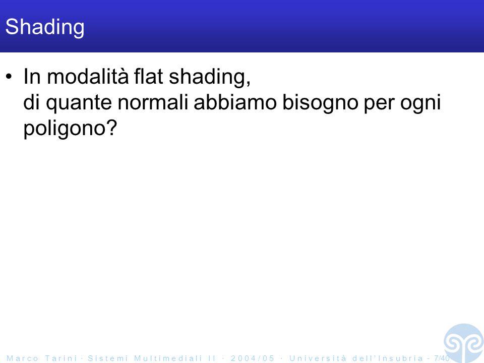 M a r c o T a r i n i S i s t e m i M u l t i m e d i a l i I I 2 0 0 4 / 0 5 U n i v e r s i t à d e l l I n s u b r i a - 7/40 Shading In modalità flat shading, di quante normali abbiamo bisogno per ogni poligono