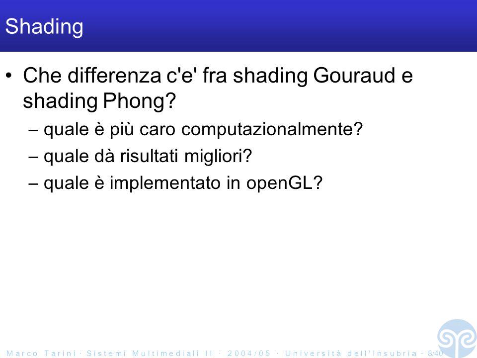 M a r c o T a r i n i S i s t e m i M u l t i m e d i a l i I I 2 0 0 4 / 0 5 U n i v e r s i t à d e l l I n s u b r i a - 9/40 OpenGL In openGL, cosa si ottinene abilitando GL_NORMALIZE.