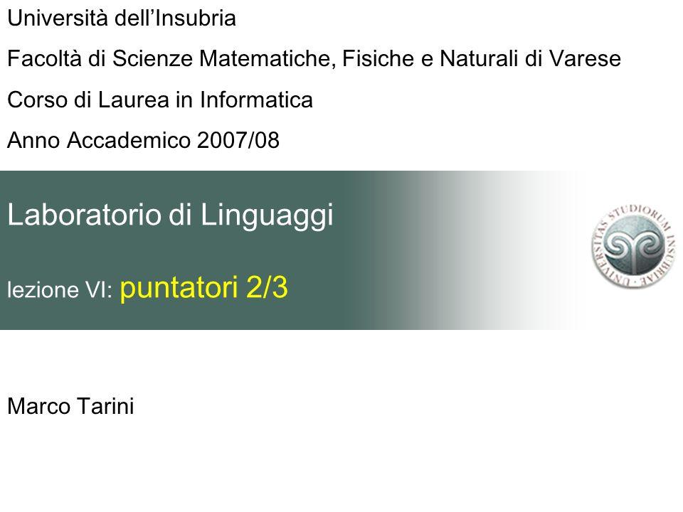 Laboratorio di Linguaggi lezione VI: puntatori 2/3 Marco Tarini Università dellInsubria Facoltà di Scienze Matematiche, Fisiche e Naturali di Varese C
