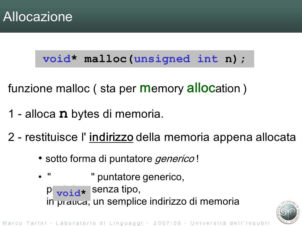 M a r c o T a r i n i - L a b o r a t o r i o d i L i n g u a g g i - 2 0 0 7 / 0 8 - U n i v e r s i t à d e l l I n s u b r i a Allocazione void* malloc(unsigned int n); funzione malloc ( sta per m emory alloc ation ) 1 - alloca n bytes di memoria.