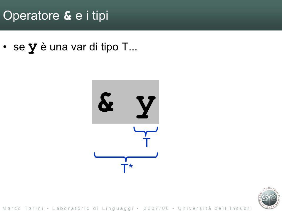 M a r c o T a r i n i - L a b o r a t o r i o d i L i n g u a g g i - 2 0 0 7 / 0 8 - U n i v e r s i t à d e l l I n s u b r i a Operatore & e vettori int numeri[]={10,20,30,40}; int *punt; punt = & numeri; errore di tipo.