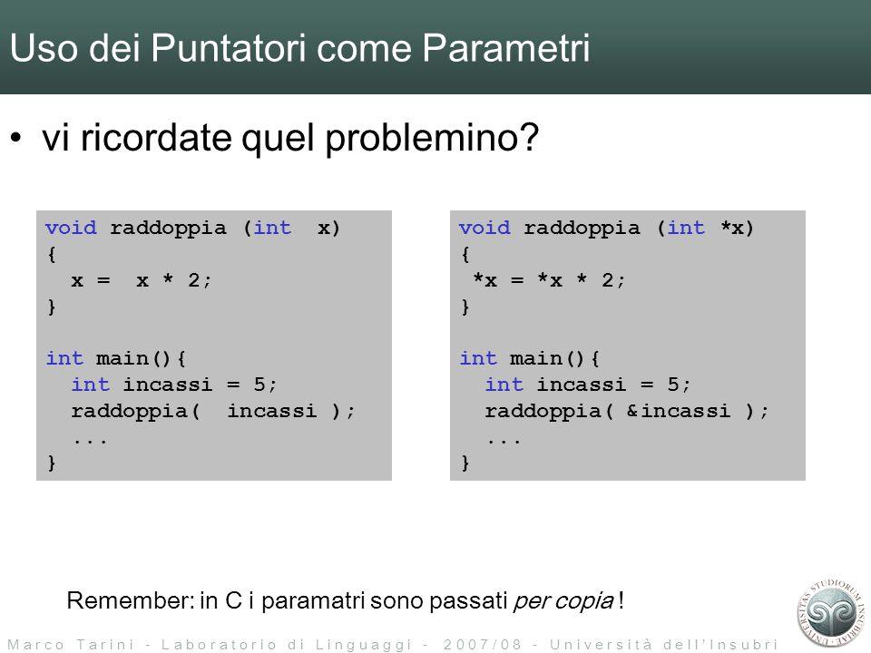 M a r c o T a r i n i - L a b o r a t o r i o d i L i n g u a g g i - 2 0 0 7 / 0 8 - U n i v e r s i t à d e l l I n s u b r i a Uso dei Puntatori come Parametri vi ricordate quel problemino.