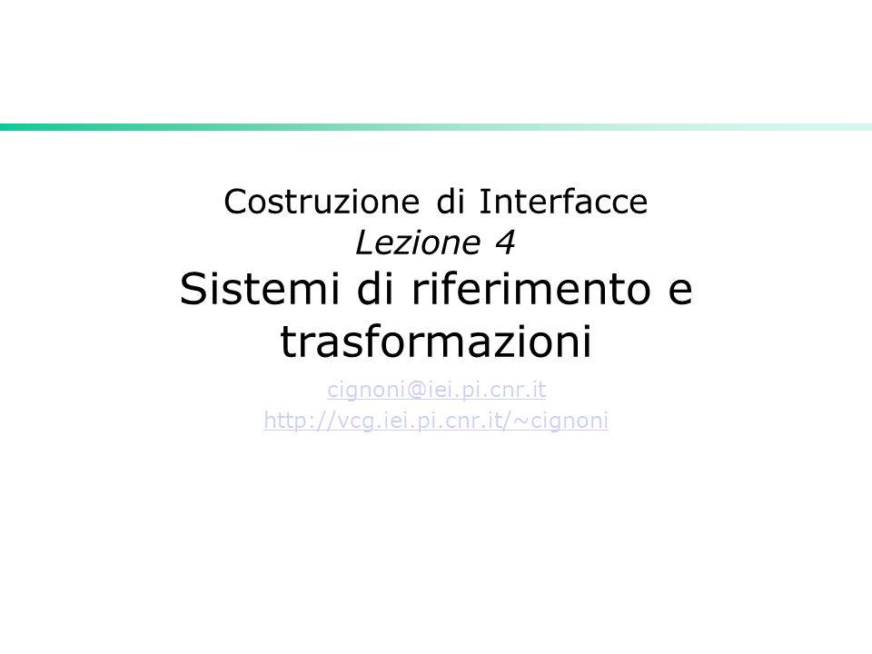Costruzione di Interfacce Lezione 4 Sistemi di riferimento e trasformazioni cignoni@iei.pi.cnr.it http://vcg.iei.pi.cnr.it/~cignoni