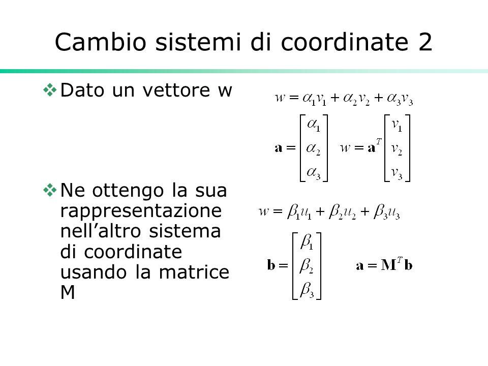 Cambio sistemi di coordinate 2 Dato un vettore w Ne ottengo la sua rappresentazione nellaltro sistema di coordinate usando la matrice M