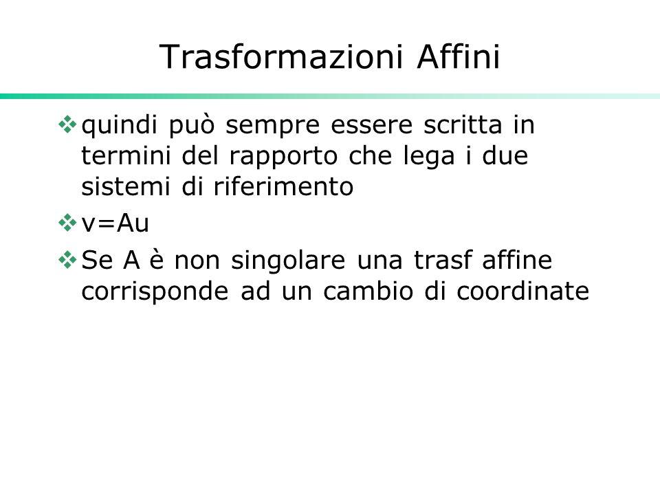 Trasformazioni Affini quindi può sempre essere scritta in termini del rapporto che lega i due sistemi di riferimento v=Au Se A è non singolare una tra