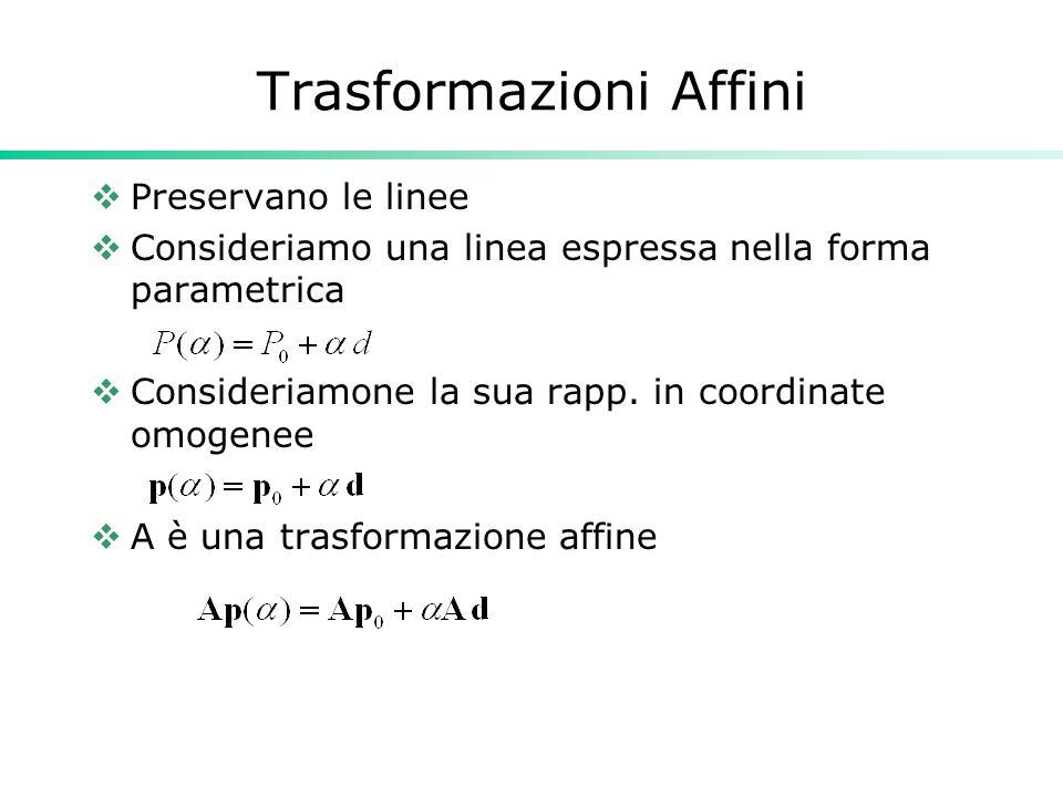 Trasformazioni Affini Preservano le linee Consideriamo una linea espressa nella forma parametrica Consideriamone la sua rapp. in coordinate omogenee A