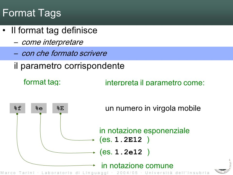 M a r c o T a r i n i L a b o r a t o r i o d i L i n g u a g g i 2 0 0 4 / 0 5 U n i v e r s i t à d e l l I n s u b r i a %i%d %c %f%e%E %p format tag: interpreta il parametro come: un intero con segno un numero in virgola mobile un carattere una stringa un puntatore %s Format Tags Il format tag definisce –come interpretare –con che formato scrivere il parametro corrispondente in notazione comune (es.