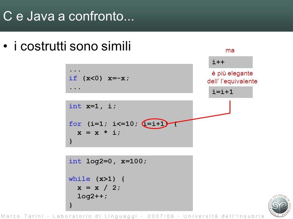 M a r c o T a r i n i - L a b o r a t o r i o d i L i n g u a g g i - 2 0 0 7 / 0 8 - U n i v e r s i t à d e l l I n s u b r i a C e Java a confronto...