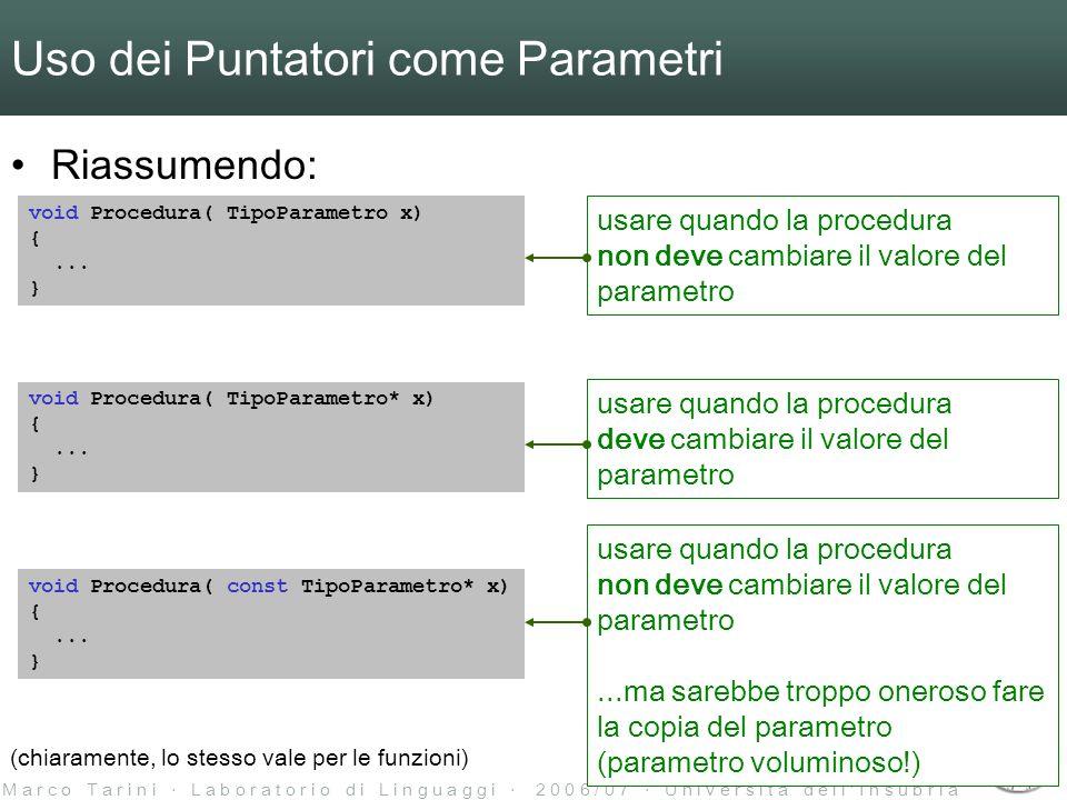 M a r c o T a r i n i L a b o r a t o r i o d i L i n g u a g g i 2 0 0 6 / 0 7 U n i v e r s i t à d e l l I n s u b r i a Uso dei Puntatori come Parametri Riassumendo: void Procedura( TipoParametro x) {...