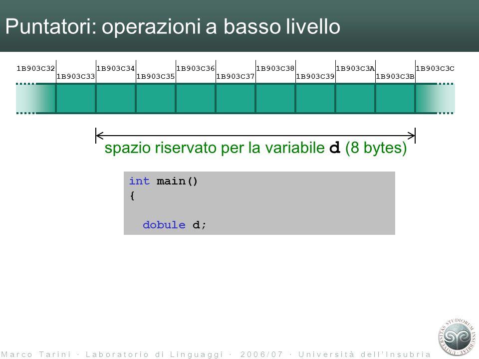 M a r c o T a r i n i L a b o r a t o r i o d i L i n g u a g g i 2 0 0 6 / 0 7 U n i v e r s i t à d e l l I n s u b r i a Puntatori: operazioni a basso livello spazio riservato per la variabile d (8 bytes) int main() { 1B903C32 1B903C33 1B903C34 1B903C35 1B903C36 1B903C37 1B903C38 1B903C39 1B903C3A 1B903C3B 1B903C3C dobule d;