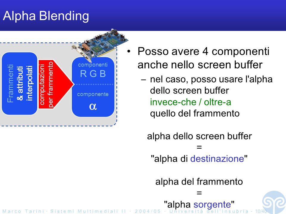 M a r c o T a r i n i S i s t e m i M u l t i m e d i a l i I I 2 0 0 4 / 0 5 U n i v e r s i t à d e l l I n s u b r i a - 10/40 Screen buffer Alpha Blending Posso avere 4 componenti anche nello screen buffer –nel caso, posso usare l alpha dello screen buffer invece-che / oltre-a quello del frammento Frammenti & attributi interpolati componenti R G B componente computazioni per frammento alpha dello screen buffer = alpha di destinazione alpha del frammento = alpha sorgente