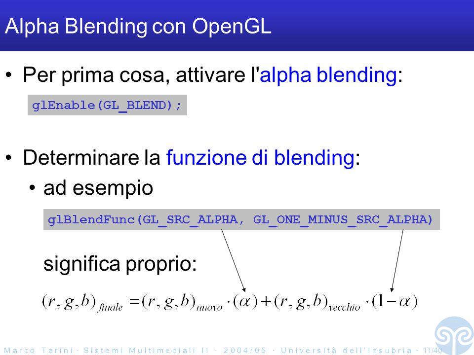 M a r c o T a r i n i S i s t e m i M u l t i m e d i a l i I I 2 0 0 4 / 0 5 U n i v e r s i t à d e l l I n s u b r i a - 11/40 Alpha Blending con OpenGL Per prima cosa, attivare l alpha blending: glEnable(GL_BLEND); glBlendFunc(GL_SRC_ALPHA, GL_ONE_MINUS_SRC_ALPHA) Determinare la funzione di blending: ad esempio significa proprio: