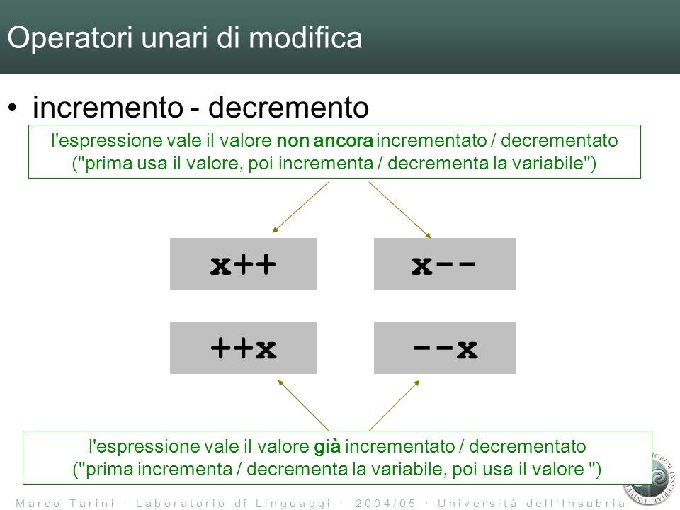 M a r c o T a r i n i L a b o r a t o r i o d i L i n g u a g g i 2 0 0 4 / 0 5 U n i v e r s i t à d e l l I n s u b r i a Operatori unari di modifica incremento - decremento x++x-- ++x--x l espressione vale il valore non ancora incrementato / decrementato ( prima usa il valore, poi incrementa / decrementa la variabile ) l espressione vale il valore già incrementato / decrementato ( prima incrementa / decrementa la variabile, poi usa il valore )