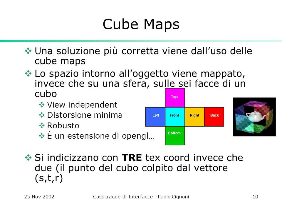 25 Nov 2002Costruzione di Interfacce - Paolo Cignoni10 Cube Maps Una soluzione più corretta viene dalluso delle cube maps Lo spazio intorno alloggetto viene mappato, invece che su una sfera, sulle sei facce di un cubo View independent Distorsione minima Robusto È un estensione di opengl… Si indicizzano con TRE tex coord invece che due (il punto del cubo colpito dal vettore (s,t,r)