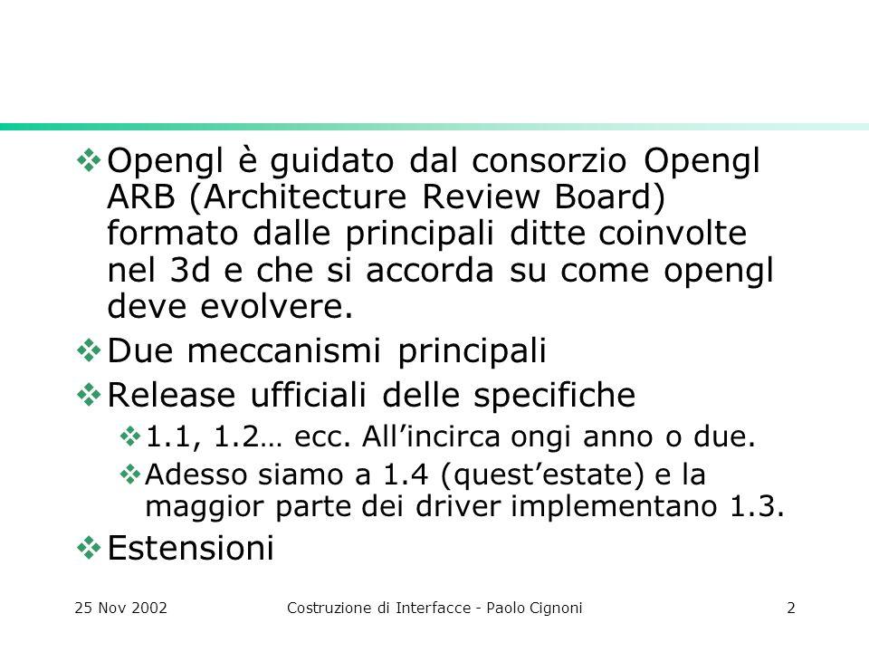 25 Nov 2002Costruzione di Interfacce - Paolo Cignoni3 Estensioni Opengl Gli implementatori dei driver possono aggiungere funzionalità proprie (cubemaps, vertex shaders ecc) e non standard, sotto forma di estensioni.