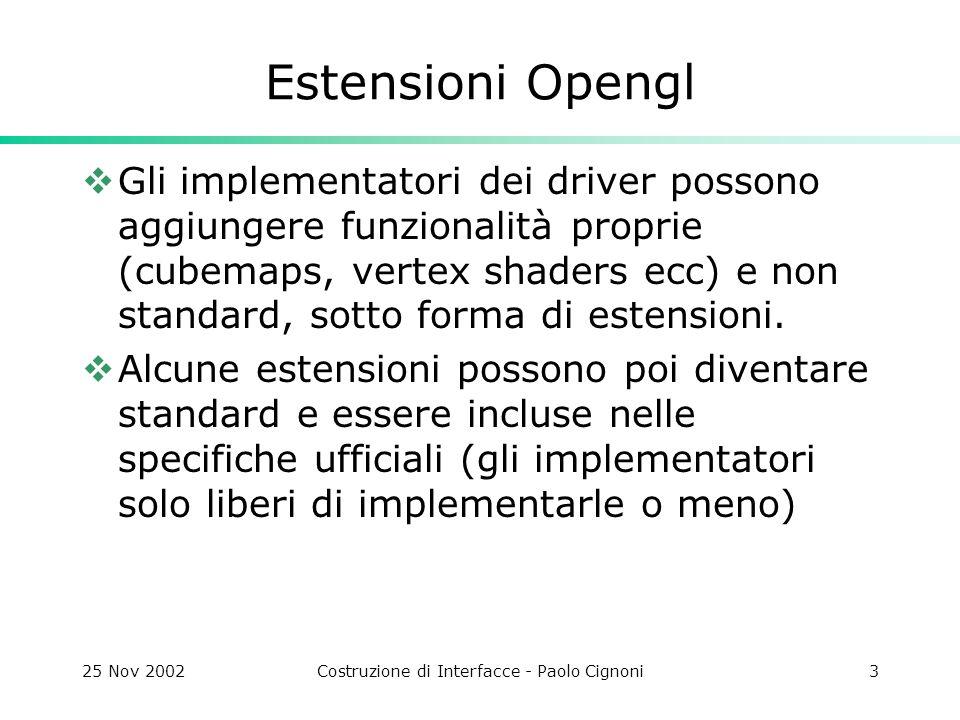 25 Nov 2002Costruzione di Interfacce - Paolo Cignoni4 I nomi delle funzioni e token che fanno parte delle estensioni contengono prefissi o suffissi che identificano lorigine e la diffusione dellestensione glVertexArrayRangeNV() dove nv indica che è unestensione proposta dallNVidia.