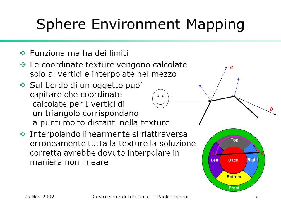 25 Nov 2002Costruzione di Interfacce - Paolo Cignoni9 Sphere Environment Mapping Funziona ma ha dei limiti Le coordinate texture vengono calcolate solo ai vertici e interpolate nel mezzo Sul bordo di un oggetto puo capitare che coordinate calcolate per I vertici di un triangolo corrispondano a punti molto distanti nella texture Interpolando linearmente si riattraversa erroneamente tutta la texture la soluzione corretta avrebbe dovuto interpolare in maniera non lineare b a ab