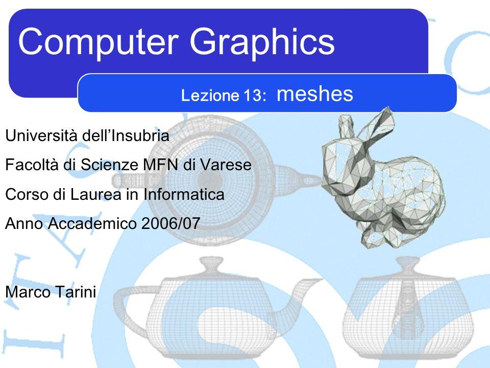 Computer Graphics Marco Tarini Università dellInsubria Facoltà di Scienze MFN di Varese Corso di Laurea in Informatica Anno Accademico 2006/07 Lezione 13: meshes