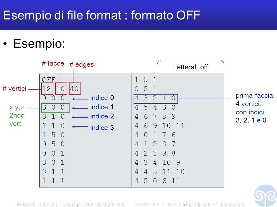 M a r c o T a r i n i C o m p u t e r G r a p h i c s 2 0 0 6 / 0 7 U n i v e r s i t à d e l l I n s u b r i a LetteraL.off Esempio di file format : formato OFF Esempio: 1 5 1 0 5 1 4 3 2 1 0 4 5 4 3 0 4 6 7 8 9 4 6 9 10 11 4 0 1 7 6 4 1 2 8 7 4 2 3 9 8 4 3 4 10 9 4 4 5 11 10 4 5 0 6 11 OFF 12 10 40 0 0 0 3 0 0 3 1 0 1 1 0 1 5 0 0 5 0 0 0 1 3 0 1 3 1 1 1 1 1 # vertici # facce # edges x,y,z 2ndo vert prima faccia: 4 vertici: con indici 3, 2, 1 e 0 indice 0 indice 3 indice 2 indice 1