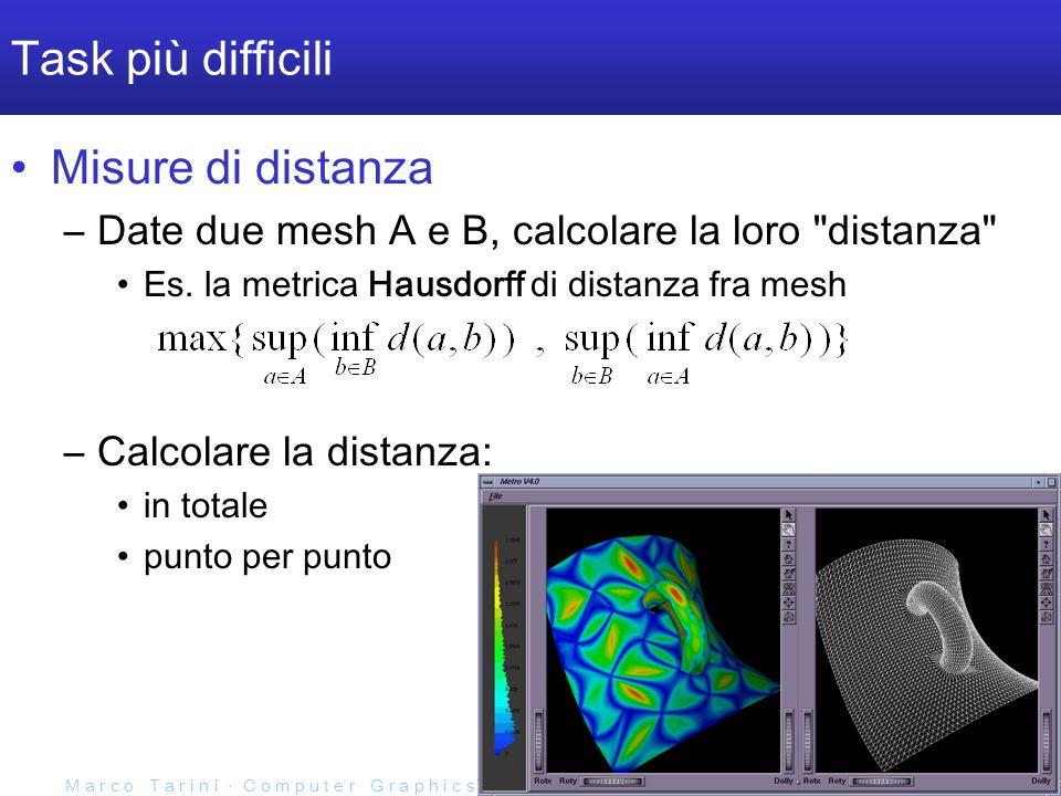 M a r c o T a r i n i C o m p u t e r G r a p h i c s 2 0 0 6 / 0 7 U n i v e r s i t à d e l l I n s u b r i a Task più difficili Misure di distanza –Date due mesh A e B, calcolare la loro distanza Es.