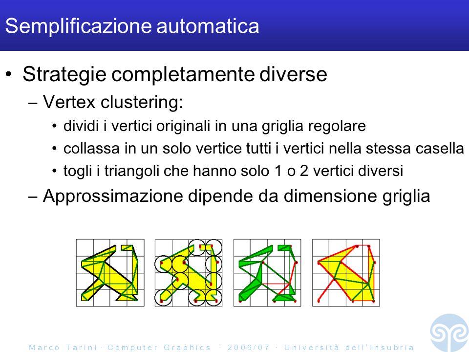 M a r c o T a r i n i C o m p u t e r G r a p h i c s 2 0 0 6 / 0 7 U n i v e r s i t à d e l l I n s u b r i a Semplificazione automatica Strategie completamente diverse –Vertex clustering: dividi i vertici originali in una griglia regolare collassa in un solo vertice tutti i vertici nella stessa casella togli i triangoli che hanno solo 1 o 2 vertici diversi –Approssimazione dipende da dimensione griglia