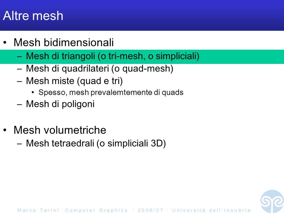 M a r c o T a r i n i C o m p u t e r G r a p h i c s 2 0 0 6 / 0 7 U n i v e r s i t à d e l l I n s u b r i a Altre mesh Mesh bidimensionali –Mesh di triangoli (o tri-mesh, o simpliciali) –Mesh di quadrilateri (o quad-mesh) –Mesh miste (quad e tri) Spesso, mesh prevalemtemente di quads –Mesh di poligoni Mesh volumetriche –Mesh tetraedrali (o simpliciali 3D)