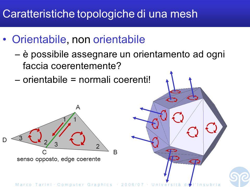 M a r c o T a r i n i C o m p u t e r G r a p h i c s 2 0 0 6 / 0 7 U n i v e r s i t à d e l l I n s u b r i a Caratteristiche topologiche di una mesh Orientabile, non orientabile –è possibile assegnare un orientamento ad ogni faccia coerentemente.